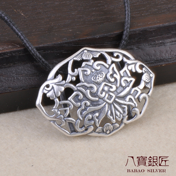 Eight S990 Sterling Silver Pendant lotus lotus silversmith hollow do old vintage Mao Yilian wholesale