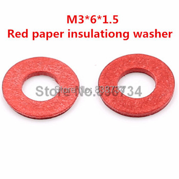 1000pcs m3*6*1.5 flat red paper insulating washer for computer accessories