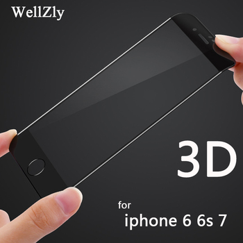Iphone 7 için temperli cam ekran koruyucu film iphone x 3D tam kapak cam koruyucu iphone 8 için i7plus i8plus wellzly
