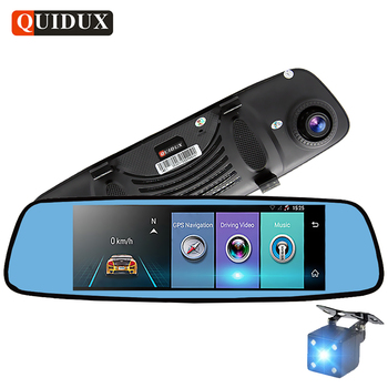 "QUIDUX 7.84 ""IPS 4G Android DVR GPS Navigator Full HD 1080 P Araba Video Kaydedici dikiz aynası DVR ile arka kamera Dashcam"