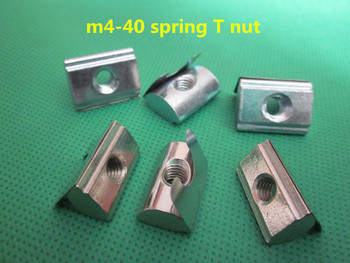 50pcs m4 - 4040 series european standard steel with nickel roll - in t nut spring nut with elastic leaf for aluminium profile