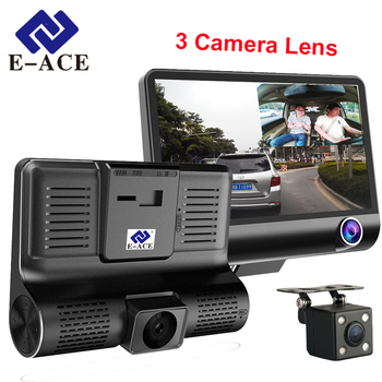 E-ACE Için 4.0 Inç Mini Dvr Dash Kamera Araba Video Kam Otomatik 3 Camara Lens Dikiz Kamera Video Kaydedici Ile Ayna HD Araba dvr'lerle