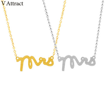 V Attract 10pcs 2017 Stainless Steel Boho Jewelry Gold Silver Color Mrs Letter Charm Necklace for Women Maxi Choker