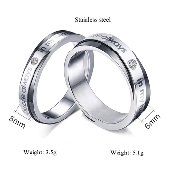 Hot Selling Cubic Zirconia Wedding Ring for Women and Men Quality Titanium Coupe Ring Never Rust or Fade Jewelry Wholesale